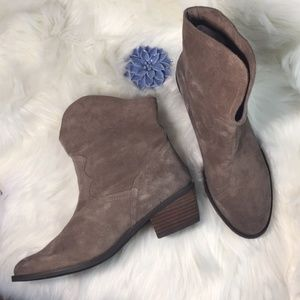 Naughty Monkey Taupe Suede Heeled Ankle Booties